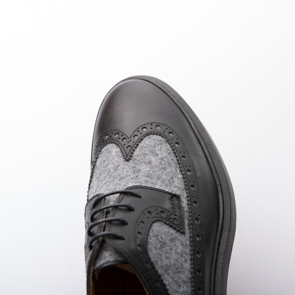 Wayne - Black & Grey - Wool & Calf Leather - BUB Leather Shoes