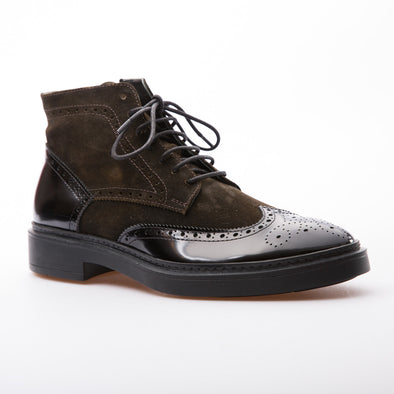 Dustin - Brown - Waxy Suede & Calf Lack Leather - BUB Leather Shoes