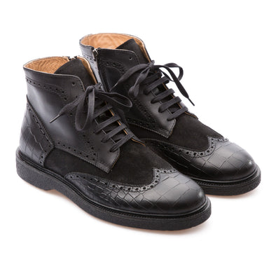 Fabian - Black - Waxy Suede & Calf Leather - BUB Leather Shoes
