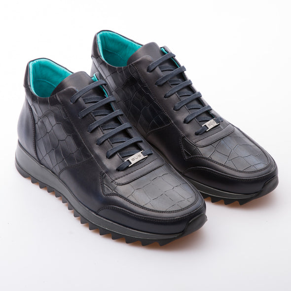 Novak - Dark Blue - Embossed Calf Leather - BUB Leather Shoes