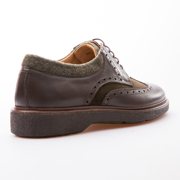 Matteo - Brown & Khaki - Calf Suede & Leather - BUB Leather Shoes