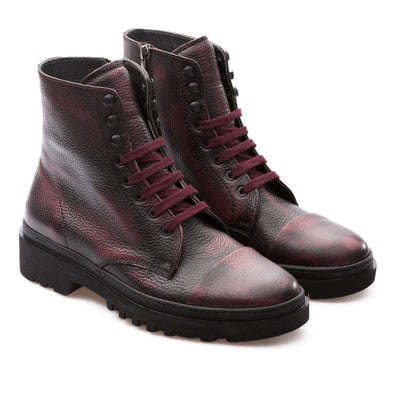 Ivan - Burgundy - Calf Grain Leather - BUB Leather Shoes
