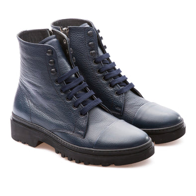 Ivan - Dark Blue - Calf Grain Leather - BUB Leather Shoes