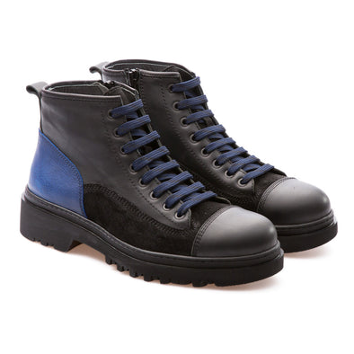 Murdock - Black & Saks Blue - Calf Vintage Leather - BUB Leather Shoes