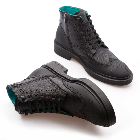 Dustin - Black - Grain Leather & Mat leather - BUB Leather Shoes