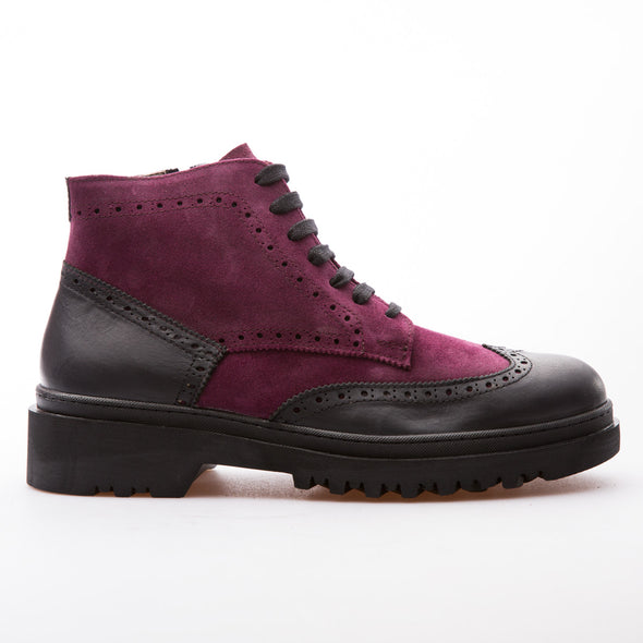 Harold - Fushia & Black - Waxy Suede & Calf Leather - BUB Leather Shoes