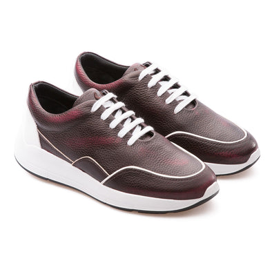 Felix - Burgundy & White - Calf Grain Leather - BUB Leather Shoes
