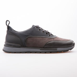 Jim - Anthracite & Black - Calf Leather & Fabric - BUB Leather Shoes