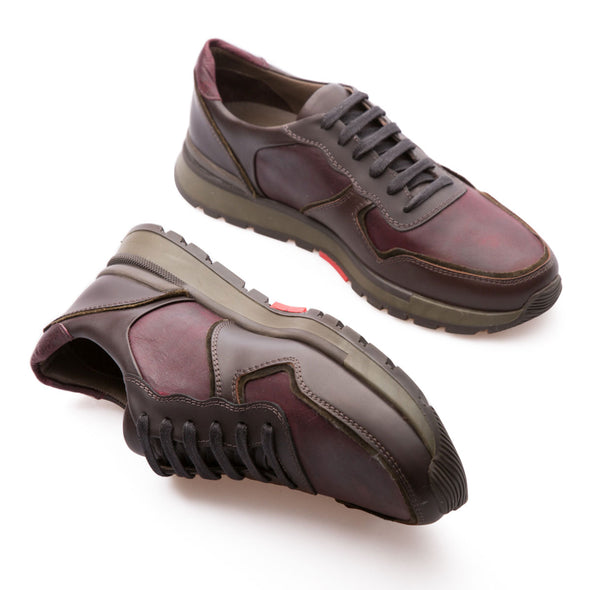 Samuel - Burgundy & Brown - Calf Vintage Leather - BUB Leather Shoes