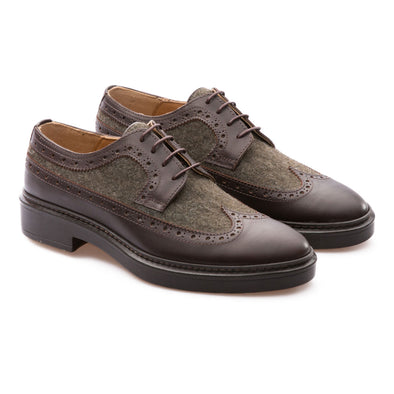 Wayne - Brown & Khaki - Wool & Calf Leather - BUB Leather Shoes