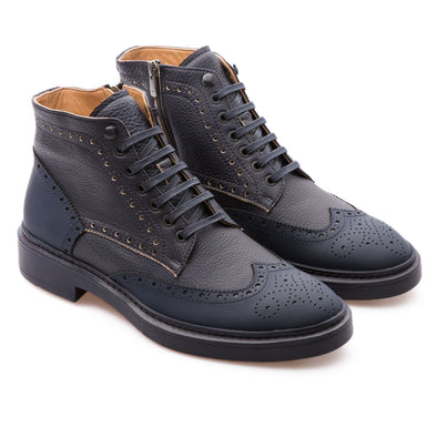 Dustin - Dark Blue - Calf Mat & Grain Leather - BUB Leather Shoes