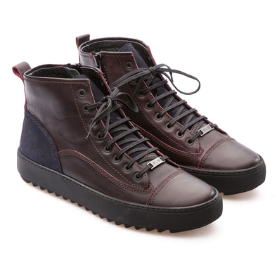 Sean - Burgundy & Dark Blue - Calf Vintage Leather & Suede - BUB Leather Shoes