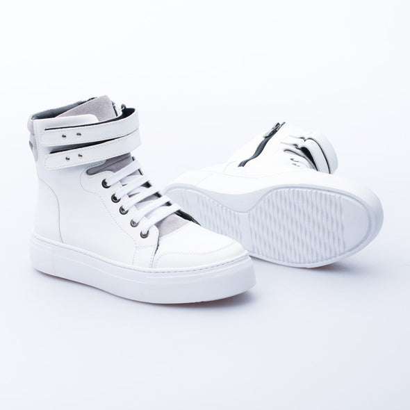 Daisy - White & Grey - Mat Leather - BUB Leather Shoes