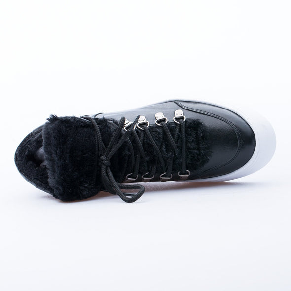 Candice - Black - Leather & Fur - BUB Leather Shoes