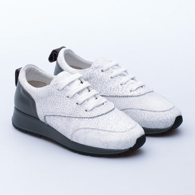 Sonya - White & Grey - Leather - BUB Leather Shoes