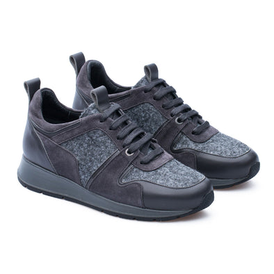 Lisa - Grey - Leather & Wool - BUB Leather Shoes