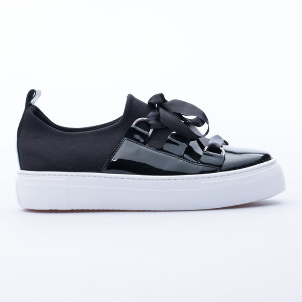 Dianne - Black - Leather & Neoprene - BUB Leather Shoes