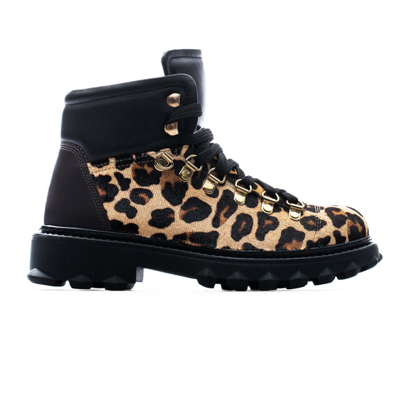 Nellie - Leopard & Black - Calf Hair & Leather - BUB Leather Shoes