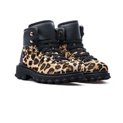 Nellie - Leopard & Black - Calf Hair & Leather