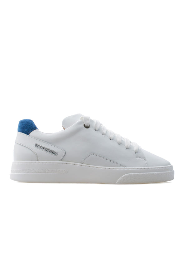 BUB Fleek - Pure White & Blue - Calf Leather & Suede - Men's Sneakers - BUB Leather Shoes