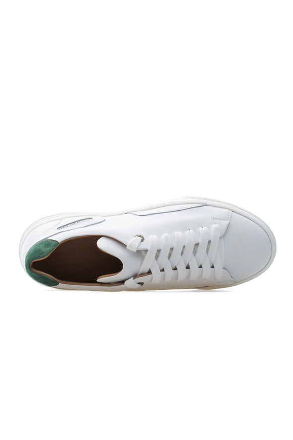 BUB Fleek - Pure White & Green - Calf Leather & Suede - Men's Sneakers - BUB Leather Shoes