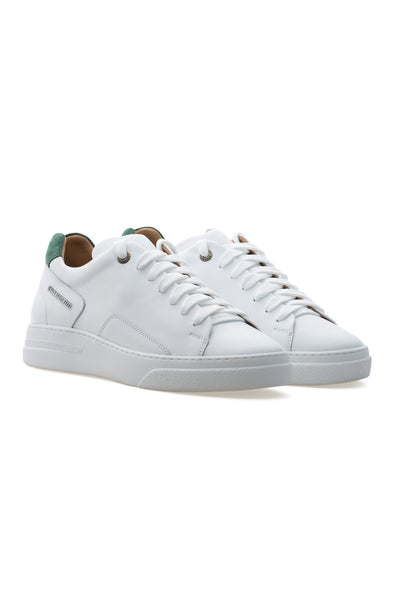 BUB Fleek - Pure White & Green - Calf Leather & Suede - Women's Sneakers