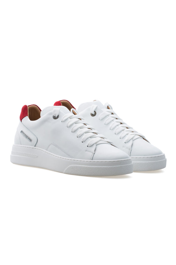 BUB Fleek - Pure White & Red - Calf Leather & Suede - Women's Sneakers