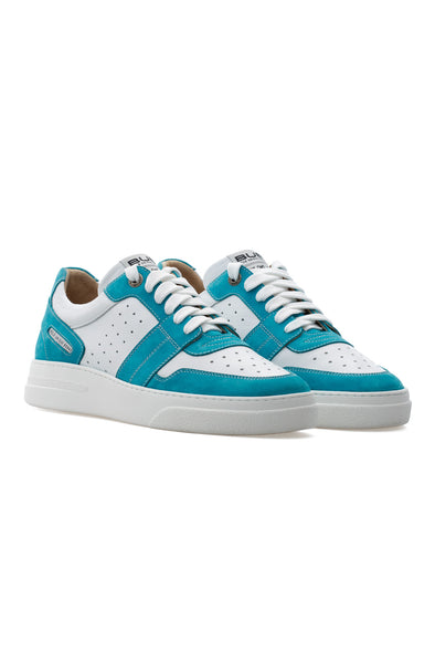 BUB Skywalker - Turquoise & White - Nubuck & Calf Leather - Men's Sneakers - BUB Leather Shoes