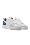 BUB Woke - Deep Ocean Blue & White & Light Cream - Calf Leather & Suede - Men's Sneakers - BUB Leather Shoes