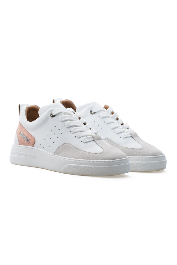 BUB Woke - Pink & White & Light Cream - Calf Leather & Suede - Men's Sneakers - BUB Leather Shoes