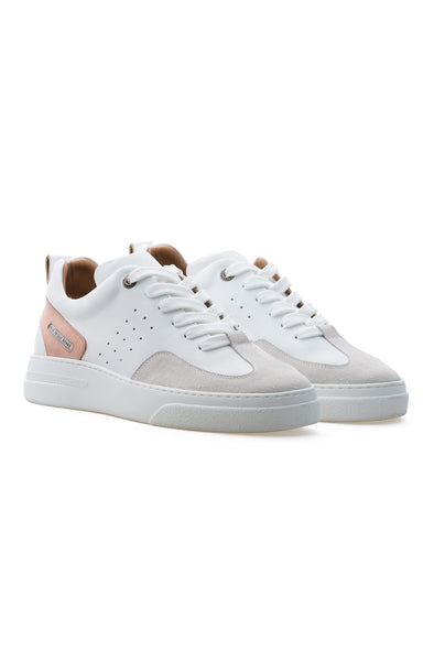 BUB Woke - Pink & White & Light Cream - Calf Leather & Suede - Women's Sneakers