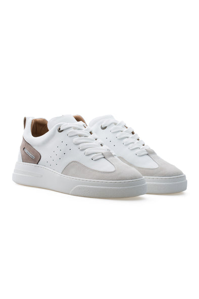 BUB Woke - Mink & White & Light Cream - Calf Leather & Suede - Women's Sneakers
