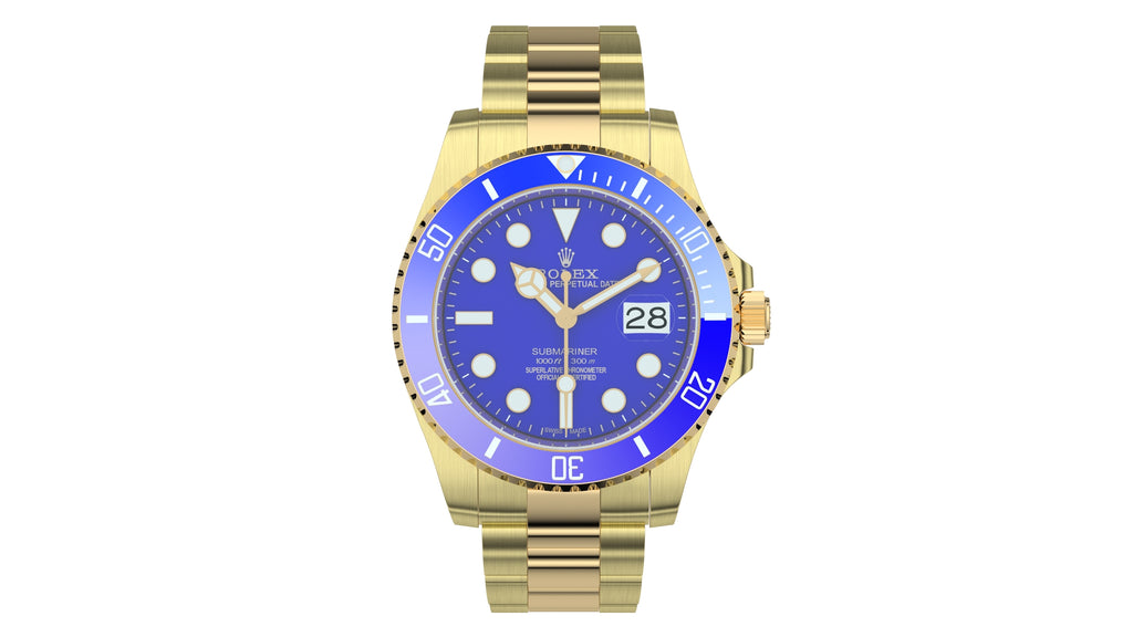 Rolex Submariner Date Yellow Gold Blue Plate