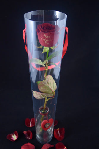 Sweet Single rose in a Love heart Vase