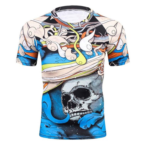 Compression T-Shirt Blue Skull