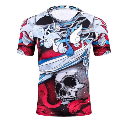 Compression T-Shirt Red Skull