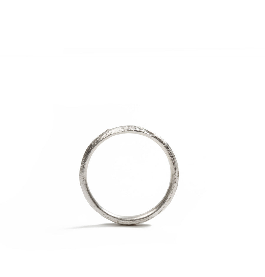 Plain Bark Silver Ring