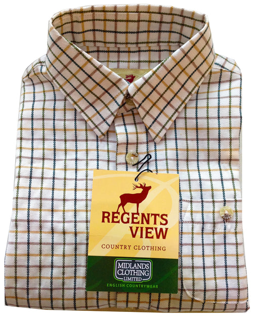 Regents View Childrens Tattersall Check Shirt - Green SH1-1