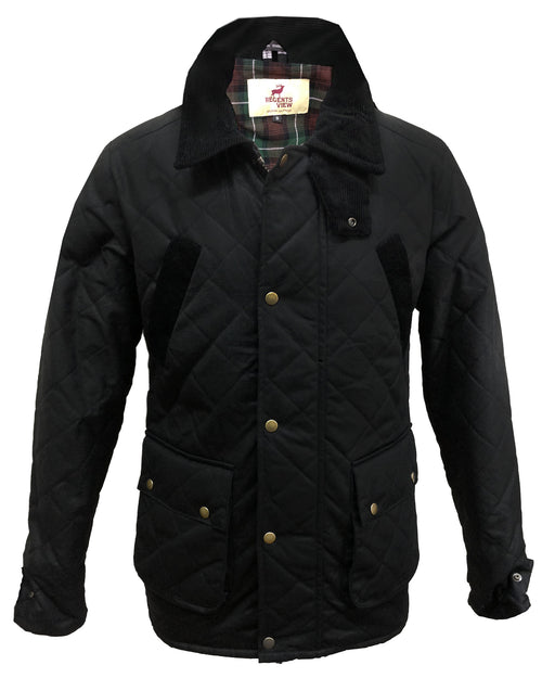 Regents View Men Premium Diamond Quilted Waxed Cotton Jacket - Black