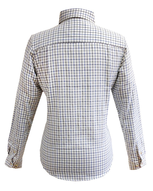 Regents View Womens Tattersall Long Sleeve Shirt - Blue SH1-2