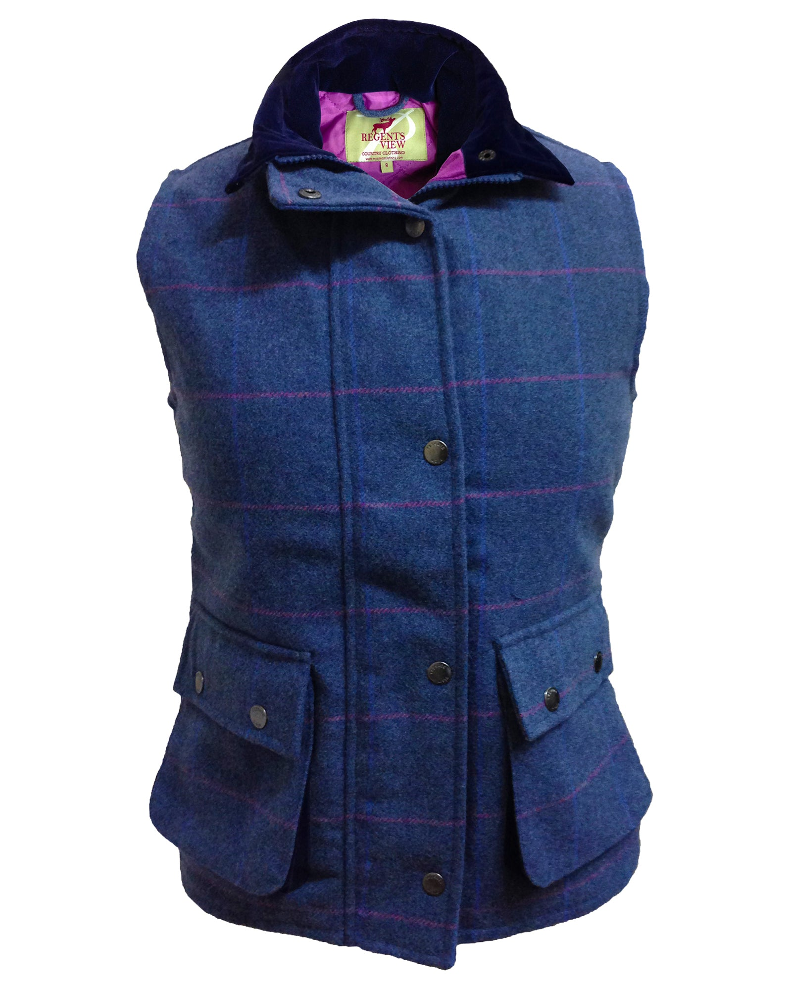 Regents View Women Diamond Quilted Premium Tweed Bodywarmer - Blue