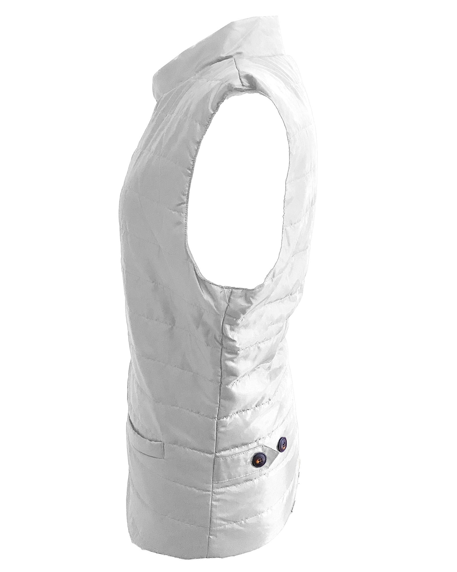 Quilted Multi-Pocket Water Resistant button Bodywarmer Gilet - White