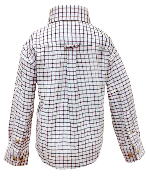Regents View Childrens Tattersall Check Shirt - Red SH1-3