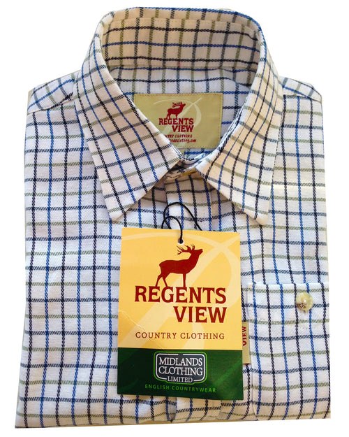 Regents View Childrens Tattersall Check Shirt - Blue SH1-2