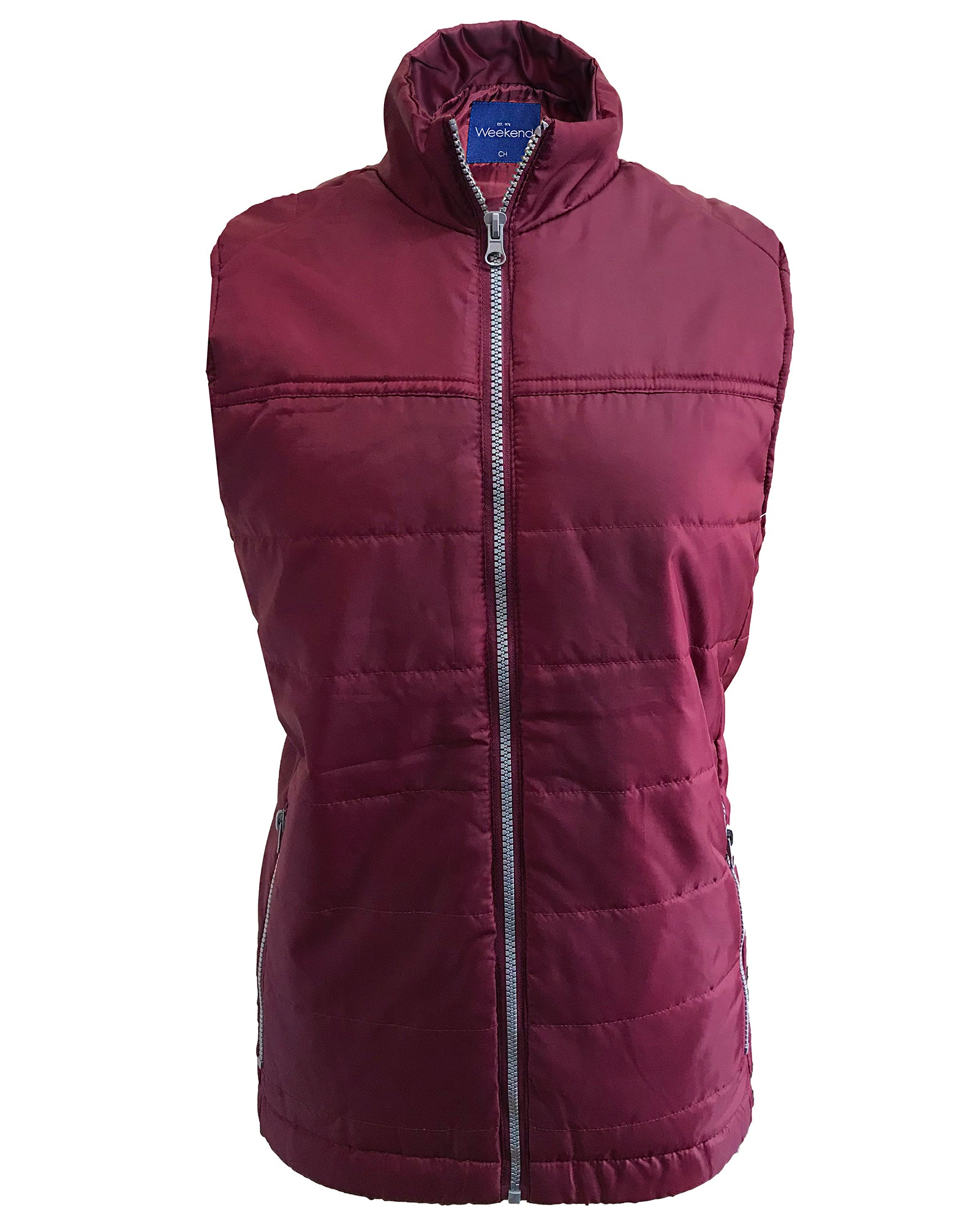 Mens Quilted Multi-Pocket Zipped Bodywarmer Gilet - Wine