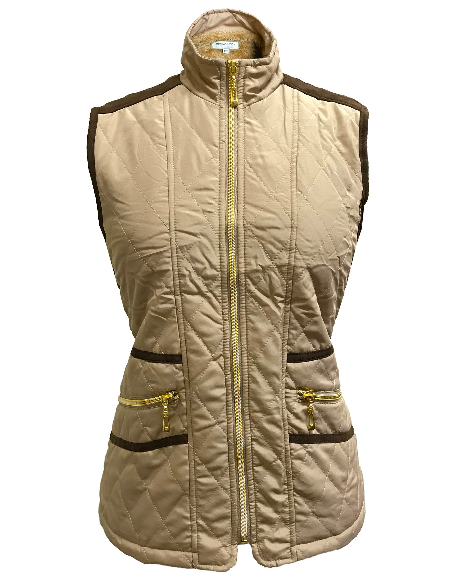 Women Quilted Fur-lined Zipped Bodywarmer - Beige