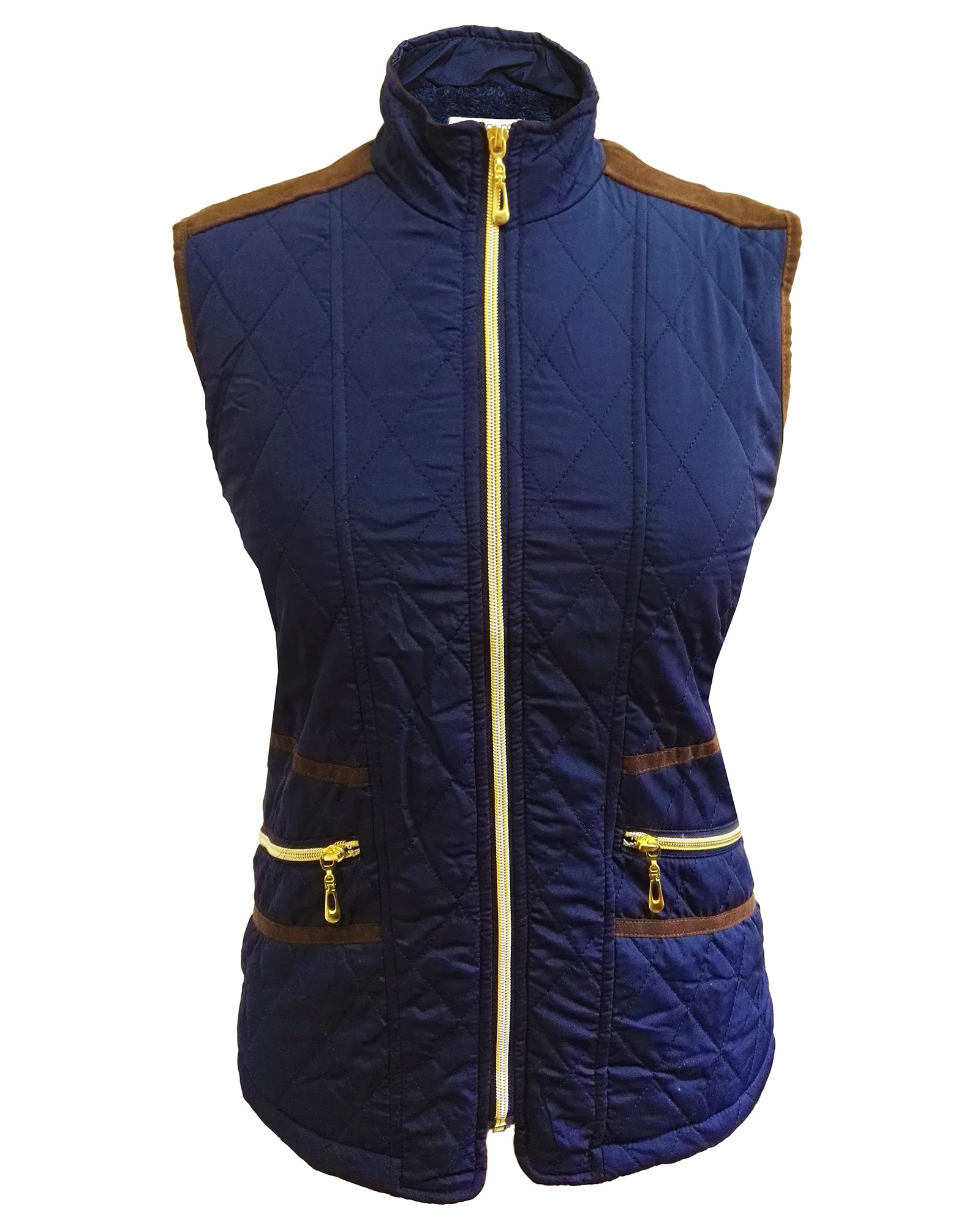 Women Quilted Fur-lined Zipped Bodywarmer - Navy