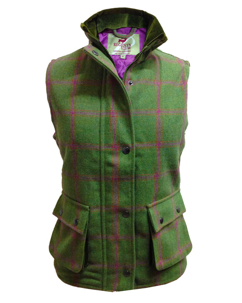 Regents View Women Diamond Quilted Premium Tweed Bodywarmer - Green