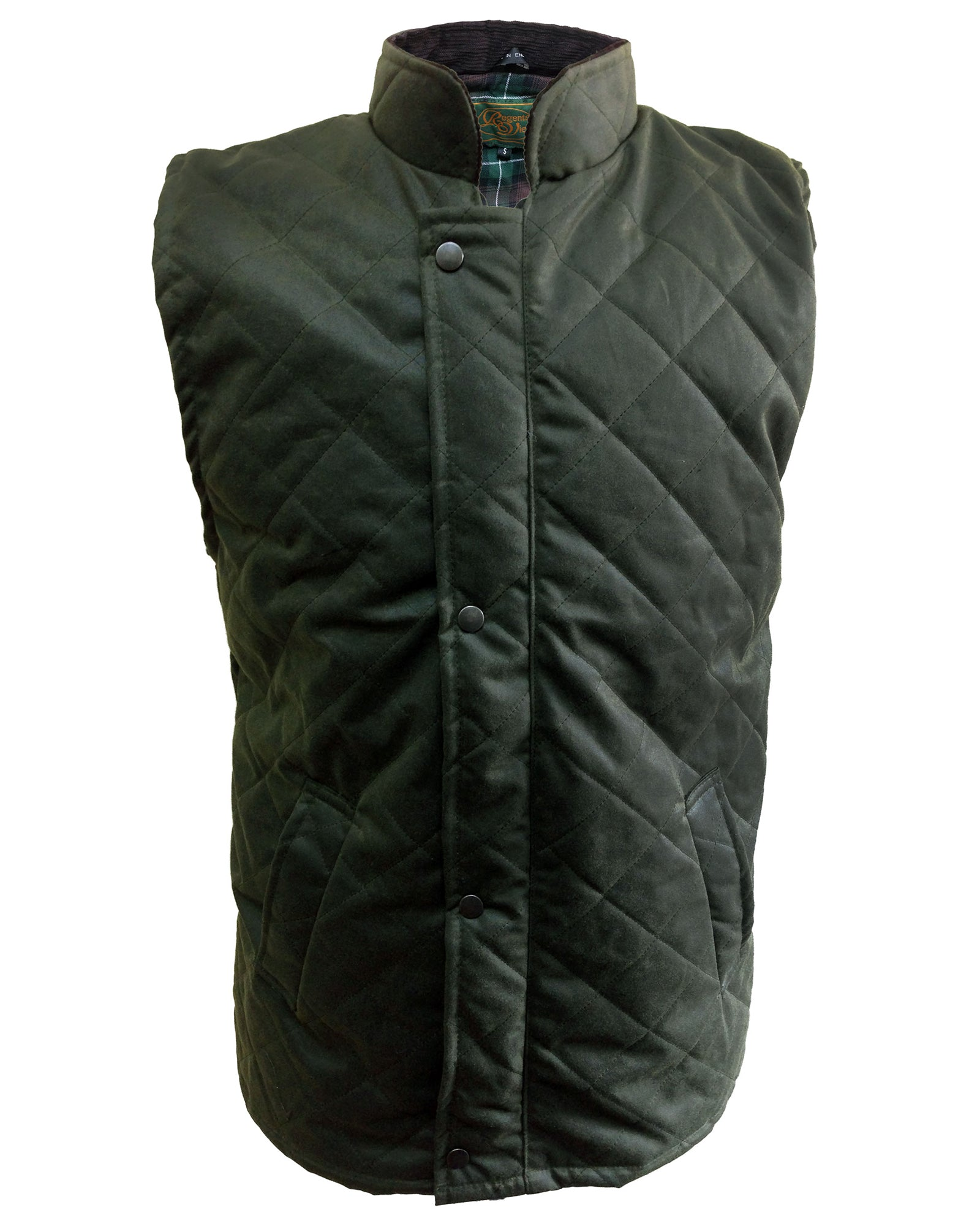Regents View Diamond Quilted 100% Waxed Cotton Bodywarmer - Olive