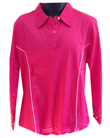 Regents View Womens Tattersall Long Sleeve Shirt - Red SH1-3